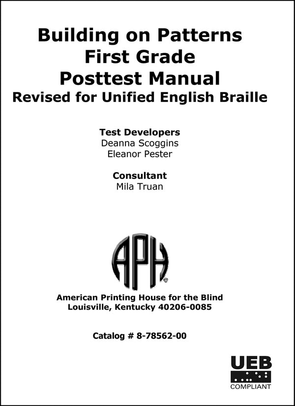 First Grade Posttest Teacher Manual