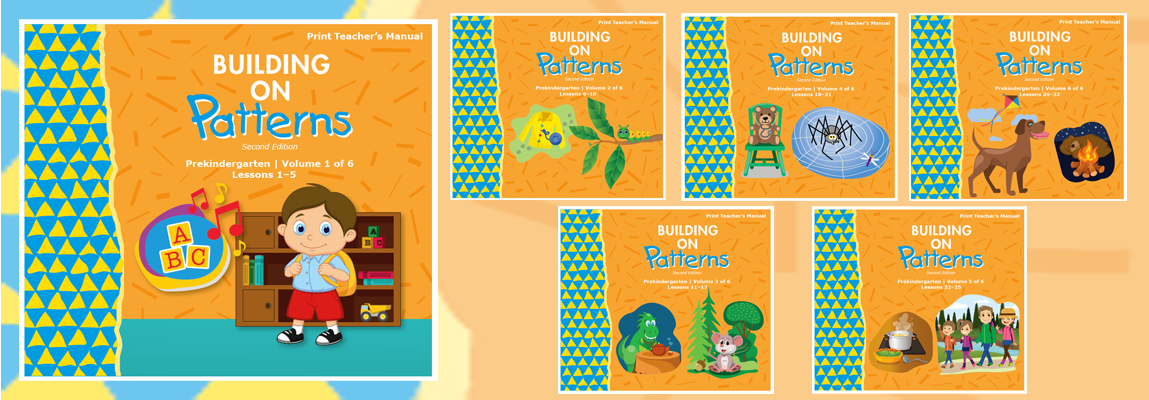 Building on Patterns Prekindergarten, montage of six book covers.