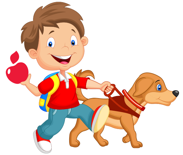 Cartoon of child walking with guide dog